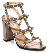 Valentino Rockstud Metallic Leather Cage Block Heel Sandals