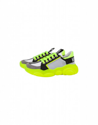 Moschino Teddy Fluo Sneakers In Calfskin And Mesh Unisex Yellow Size 27 It - (9.5k/10k Us)