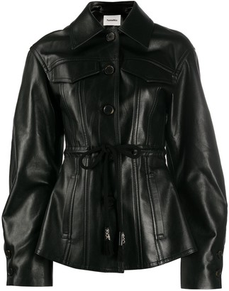 Nanushka Oversized Sleeve Belted Leather Jacket