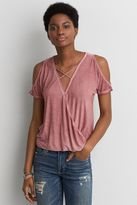 American Eagle Outfitters AE Cold Shoulder Wrap Front T-Shirt
