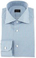 Ermenegildo Zegna Shadow Graph-Check Dress Shirt, Teal