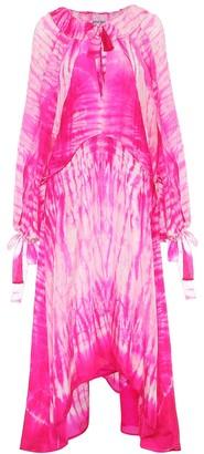 Juliet Dunn Asymmetric tie-dye silk dress