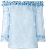 Blumarine ruffled off-the-shoulder top - women - Cotton/Silk - 38