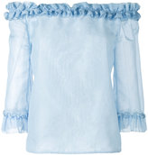 Blumarine ruffled off-the-shoulder top - women - Silk/Cotton - 38