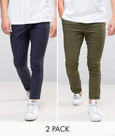 Asos 2 Pack Super Skinny Chinos In Khaki & Navy SAVE