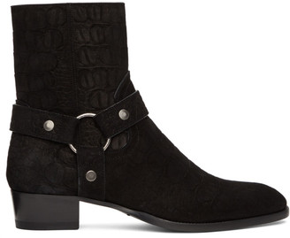 Saint Laurent Black Croc Wyatt Harness Boots