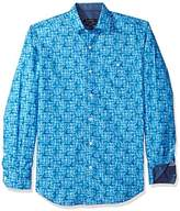 Bugatchi Men's Aquarella Printed Shaped Fit Roll Up Sleeves Cotton Shirt