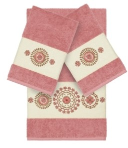 Linum Home Isabelle 3-Pc. Embroidered Turkish Cotton Bath and Hand Towel Set Bedding
