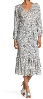 Velvet Torch Long Sleeve Wrap Midi Dress