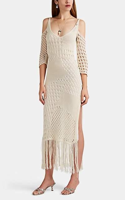 Altuzarra Women's Octavia Fringed Macramé Cold-Shoulder Dress - Ivory