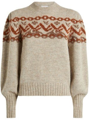 Chloé Alpaca Wool-Blend Fair Isle Sweater