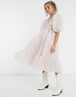 Sister Jane Dream midi wrap dress with volume sleeves and tiered skirt in texture