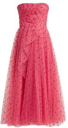 Carolina Herrera Flocked Waterfall-panel Strapless Tulle Gown - Womens - Pink Multi