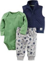 Carter's 3-Pc. Vest, Bodysuit & Paw-Print Jogger Pants Set, Baby Boys (0-24 months)