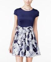 B. Darlin Juniors' Belted Floral-Print Fit & Flare Dress