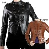 L&B TRADING United Face Women's Lambskin Leather Snap-front Military Jacket