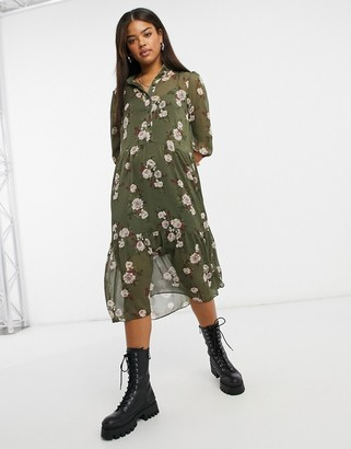 New Look chiffon midi shirt dress in khaki floral