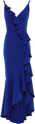 Marchesa Velvet-trimmed Ruffled Cady Gown