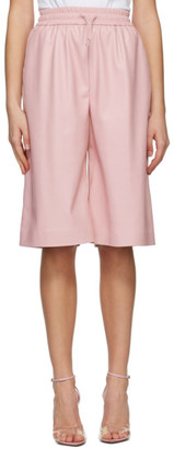 MSGM Pink Artificial Leather Bermuda Shorts