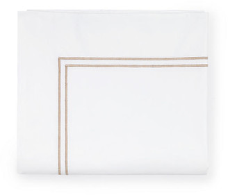 Sferra Grande Hotel Flat Sheet - White/Taupe Twin