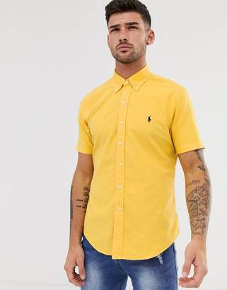 Polo Ralph Lauren short sleeve garment dyed oxford shirt slim fit button down player logo in yellow