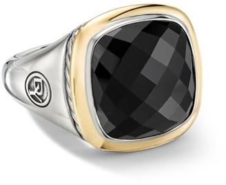 David Yurman Albion Ring with Black Onyx & 18K Yellow Gold