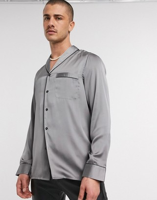 ASOS DESIGN regular fit shawl collar satin shirt in gray with black piping