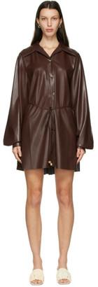 Nanushka Brown Vegan Leather Joy Short Dress