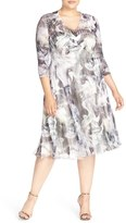 Komarov Plus Size Women's Abstract Print Chameuse & Chiffon V-Neck Dress