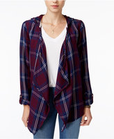 Roxy Juniors' Plaid Hooded Overshirt