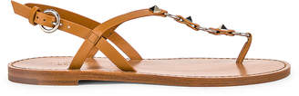 Valentino Cagestuds Thong Sandal in Tan | FWRD