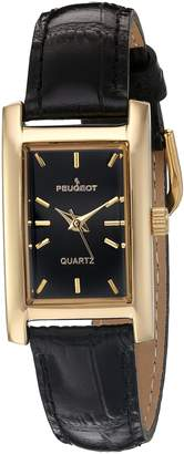 Peugeot Women's Classy 14K Gold Plated H Rectangle Case Black Leather Band Dress Watch 3007BK
