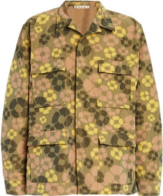 Marni Floral-Print Linen Jacket