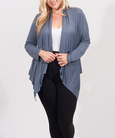 Denim Blue Drape Open Cardigan - Plus