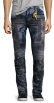 Robin's Jeans Distressed Dirty-Wash Moto Jeans, Blue