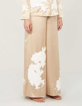 Myla Primrose Hill floral-embroidered silk-satin pyjama bottoms