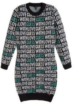 GUESS Big Girl's Long Sleeve Intarsia Logo Sweater Dress