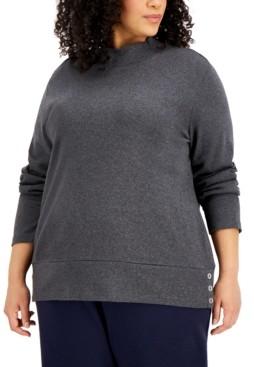 Karen Scott Plus Size Button-Hem Mock-Neck Sweater, Created for Macy's