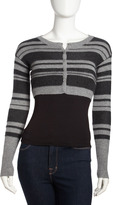 Qi Striped Cropped Cashmere Cardigan, Granite/Charcoal