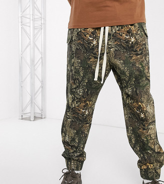 Reclaimed Vintage drop crotch cargo with drawstring in camo