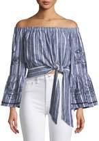 Parker Georgina Off-the-Shoulder Tie-Side Cropped Striped Blouse