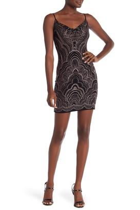 Jump Glitter Cowl Neck Mini Dress