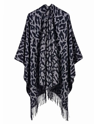 Iris Women's Printed Tassel Open front Poncho Cape Cardigan Wrap Shawl (Leopard/Black)