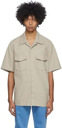 Ami Alexandre Mattiussi Beige Gabardine Short Sleeve Shirt