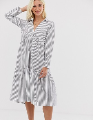 Asos Design DESIGN tiered collared cotton smock midi dress with long sleeves in cut about stripe-Multi