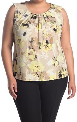 Calvin Klein Floral Pleated Sleeveless Top