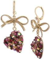 Betsey Johnson Gold-Tone Stone Heart and Ribbon Drop Earrings