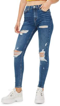 Topshop Jamie High-Rise Skinny Ripped Jeans 32-Inch Leg