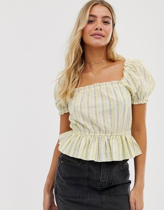 Miss Selfridge peplum top with puff sleeves in stripe-Yellow