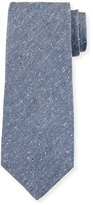Isaia Solid Donegal Tie, Steel Blue